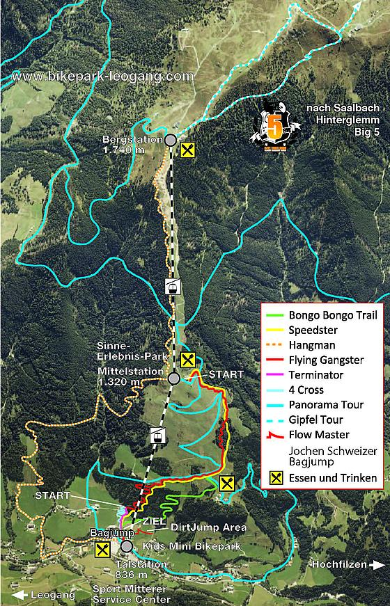 Leogang Bike Park trail map